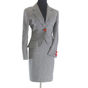 Checkered Skirt Suit w/ Red Heart Shaped Buttons